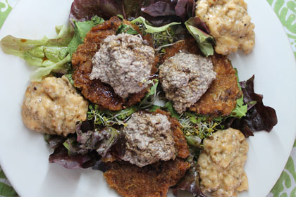 raw food, 100-day diet, dehydrated sweet potato cakes