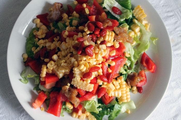corn salad, raw food