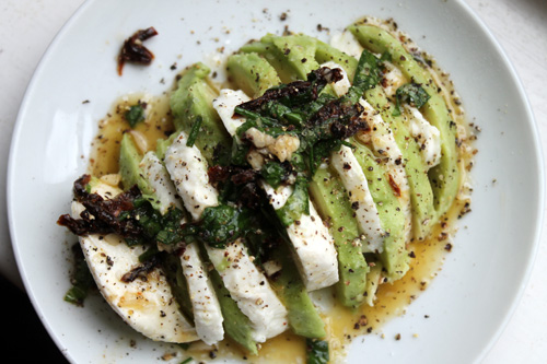 hormone diet, fat cravings, avocado salad, mozzarella salad