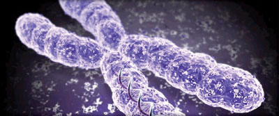 Illustration of DNA chromosome with light