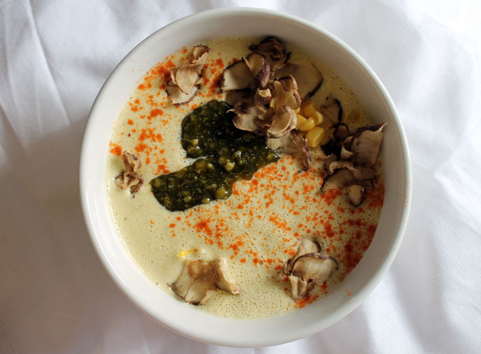 raw food, corn chowder soup