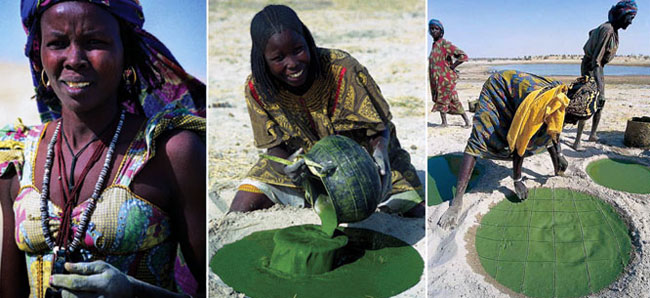 traditional spirulina harvesting, lake chad, africa