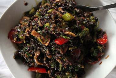 Cooked vegan wild rice dish image